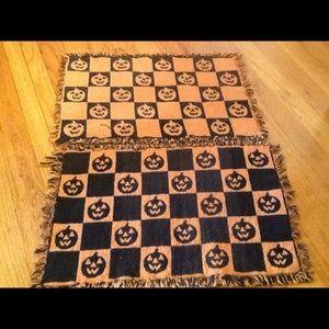 (2) Adorable Halloween Pumpkin Placemats